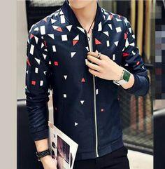 White and orange geometric bomber jacket for men plus size long sleeve