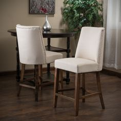 Christopher Knight Home Harman Fabric Counter Stool Beige (Set of 2) - Overstock Shopping - Great Deals on Christopher Knight Home Bar Stools