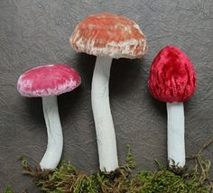Coral Pink and Red Woodland Toadstool Ornaments  by juliecollings