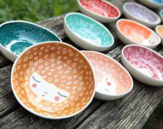 Ensemble de 4 -15 % - céramique bols aux couleurs de votre choix - service bols de vaisselle en céramique - céramique têtière - - cadeau de mariage - fait ORD