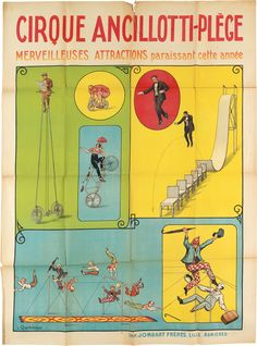 LOUIS CHARBONNIER (1874-1935) CIRQUE ANCILLOTTI - PLÈGE / MERVEILLEUSES ATTRACTIONS. Circa 1910s. 63x45 3/4 inches,