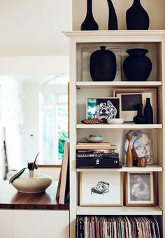 the art of shelf styling with artist caroline walls. Space Furniture, Furniture Design, Living Room Decor, Living Spaces, Room Of One's Own, Commercial Interior Design, Apartment Living, Apartment Therapy, Decoration