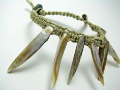 Hemp Macrame Bracelet with Long Shells (Exotic and Tribal Style)