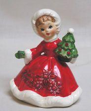 Vintage Christmas LEFTON Shopper Girl Figurine Holds Tree #6604