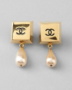 Chanel Vintage Square CC Pearl Drop Earrings