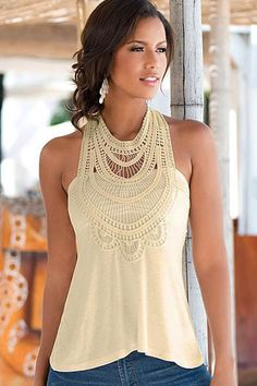Break this tank out on a warm breezy day and you will have no regrets in the world! This tank has crochet at the neckline and slim fit! No matter what color jeans, shorts, or necklace you decide to pair this tank with it will look great!