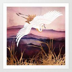 SpaceFrog Designs - Elegant Flight of a Crane Religion, Skyline, Inspirational Wall Art, Canvas Prints, Art Prints, Graphic Design Illustration, Elegant, Wood Print, Moose Art