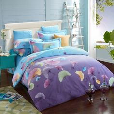 Royal Purple and Light Blue Tropical Leaf Print Unique Design Rustic Style 100% Brushed Cotton Full, Queen Size Bedding Sets