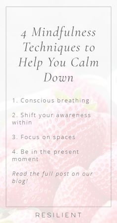4 Mindfulness Techniques to Help You Calm Down - Resilient Mindfulness Techniques, Meditation Techniques, Easy Meditation, Mindfulness Meditation, Anxiety Tips, Stress And Anxiety, Anxiety Facts, Anxiety Relief, Stress Relief