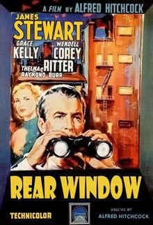 Rear Window // Directed by	Alfred Hitchcock  Produced by	Alfred Hitchcock  Screenplay by	John Michael Hayes  Story by	Cornell Woolrich  Starring	James Stewart  Grace Kelly  Wendell Corey  Thelma Ritter  Raymond Burr  Music by	Franz Waxman  Release date(s)	August 1, 1954