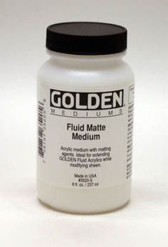 GOLDEN Fluid Matte Medium is a liquid medium useful for extending colours, decreasing gloss and increasing film integrity. This product is particularly useful with GOLDEN Fluid Acrylics to decrease gloss without altering viscosity. Also useful as a translucent ground on canvas. GOLDEN Fluid Matte Medium has better sealing properties than the regular Matte Medium.