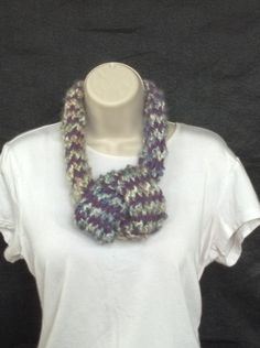 Hand made loom knitted purple and gray adjustable infinity scarf by knittedbydesign on Etsy