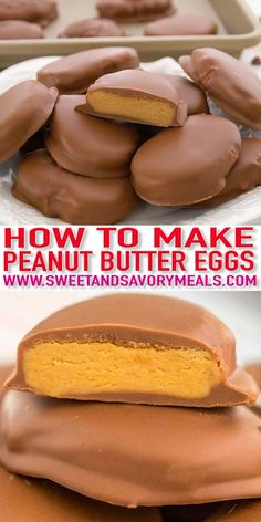 Homemade Peanut Butter Eggs are loaded with peanut butter and covered in a delic. Homemade Peanut Butter Eggs are loaded with peanut butter and covered in a delicious chocolate coating. They are super easy to make and are our favorite treats for Easter! Candy Recipes, Sweet Recipes, Baking Recipes, Cookie Recipes, Dessert Recipes, Peanut Butter Eggs, Homemade Peanut Butter, Peanut Butter Recipes, Homemade Snickers