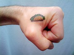 Let's get taco tattoos! 74 Of The Tiniest, Most Tasteful Tattoos Ever Tiny Tattoos For Women, Hand Tattoos For Guys, Small Tattoos, Hand Tats, Taco Tattoos, Food Tattoos, Tasteful Tattoos, Subtle Tattoos, Animal Rights Tattoo