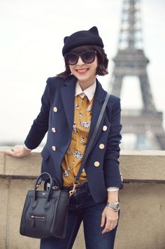 Look: Cute button shirt with jacket and touch of whimsy w/ kitty ear hat.