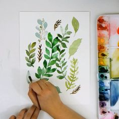 Learn to paint leaves in many shades of green on the snowberry design co yo Watercolor Painting Techniques, Watercolor Video, Watercolor Leaves, Watercolour Tutorials, Diy Painting, Painting & Drawing, How To Paint Watercolor, Beginning Watercolor Tutorials, Beginning Painting Ideas