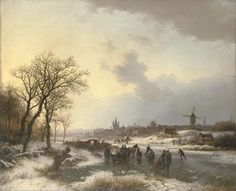 Barend Cornelis Koekkoek (Dutch, 1803-1862)Late afternoon with numerous skaters by a town signed and dated 'BC Koekkoek 1843' (lower left) oil on panel