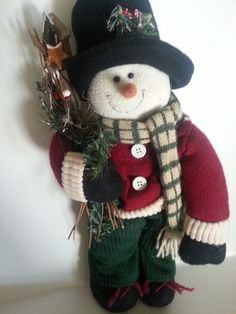 Snowman, Large Snowman, Handmade Snowman, Hand Embellished Stuffed Snowman, Decked out in winter Attire, Christmas Snowman, Winter Snowman
