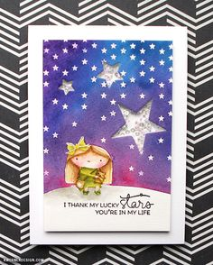 kristina werner design carte card i thank my lucky stars you're in my life remerciement