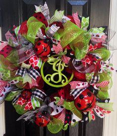 Ladybug mesh wreath by TJordans