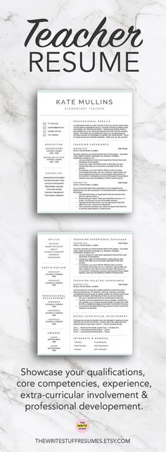 Teacher resume template for Word  Pages (1, 2 and 3 page resume and - resume 1 or 2 pages
