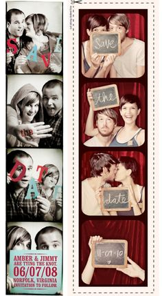 Photo booth save the date with magnet on back. *keep sake as a part of our series in our photo booth photo album. Unique Save The Dates, Save The Date Photos, Wedding Save The Dates, Save The Date Cards, Save The Date Ideas Diy, Save The Date Invitations, Unique Wedding Invitations, Wedding Stationary, Wedding Themes