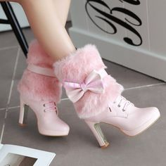 Details about Womens Fur Furry Bowknot Sweet candy ANkle Winter Boots Lace Up Shoes Lolita Damen Fell Pelz Bowknot Sweet Candy Ankle Winterstiefel Schnürschuhe Lolita Fancy Shoes, Pretty Shoes, Lace Up Shoes, High Heel Boots, Ankle Boots, Heeled Boots, Dr Shoes, Shoes Heels Pumps, Strappy Shoes