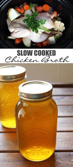 Slow Cooked Chicken Broth - is full of nutrients and minerals. Delicious in noodle soup not only when you have a cold #broth #slowcooker
