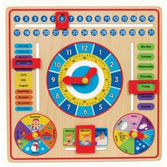 With all the cool moving sliders, windows, arrows, and fun developmental activities, this All about Today board is a great visual calendar toy for preschool kids.