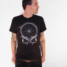 Mens Bike Wheel and Cross Sharks - Shark Cycle Clothing - American Apparel Mens T Shirt on Etsy, $24.00