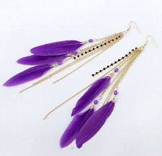 Aaishwarya Purple Feather Tassel Earrings #earrings #earringsforwomen #featherearrings #tasselearrings #danglers