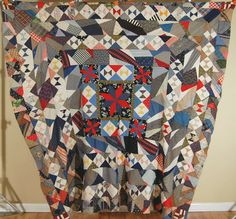 VIBRANT Vintage Center Medallion Stars Bow Tie Crazy Antique Quilt Top ~GORGEOUS
