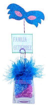 Personalizados. Centro de mesa para fiesta de XV años. Azul