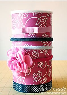 DIY headband organizer. From a Quaker Oats container..who would have thought!?