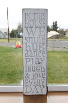 Rustic Family Rules Wood Sign. $16.00, via Etsy.