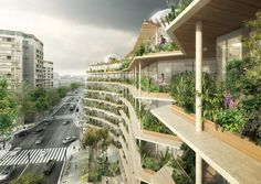 Jacques Ferrier Architecture, Chartier Dalix Architectes, SLA Landskab, Reinventer Paris, Paris, green roofs, urban gardening, urban farming, rooftop gardens, Mayor Anne Hidalgo, Multi-Layered City by Jacques Ferrier Architecture, Boulevard Périphériq