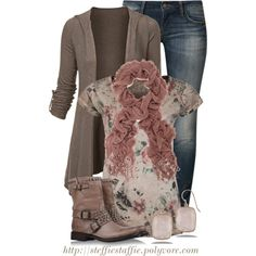 """""""Draped Cardigan, Floral Tee & Frye Boots"""" by steffiestaffie on Polyvore"""