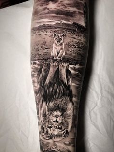 Rate This Lion Reflection Tattoo 1 to 100 Sketches Lion Tattoo Sleeves, Wolf Tattoo Sleeve, Arm Band Tattoo, Sleeve Tattoos, Portrait Tattoo Sleeve, Lion Head Tattoos, New Tattoos, Tattoos For Guys, Cool Tattoos