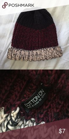 Multicolor Beanie Black, maroon, and light pink. Never worn. Cotton On Accessories Hats