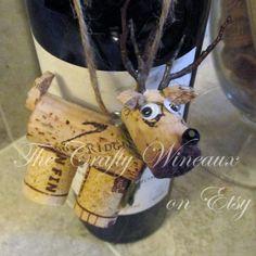 Rustic Deer, Reindeer Wine Cork Ornament in Sage Green - The Crafty Wineaux