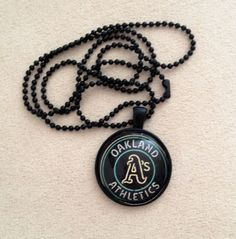 Oakland Athletics Pendant Necklace by QUEENBEADER on Etsy, $15.25