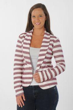 Maroon Striped VT Fleece Blazer