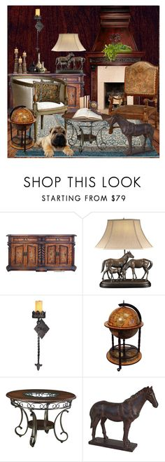 """""""Old World Elegance Den"""" by suelb ❤ liked on Polyvore featuring interior, interiors, interior design, home, home decor, interior decorating, Troy and Casa Cortes"""