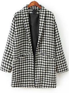 Abrigo de lana pata de gallo manga larga-blanco y negro 38.25