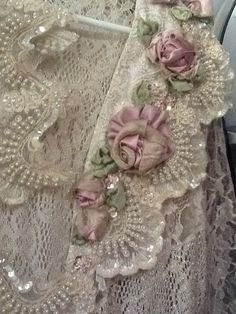 Satin ribbon roses and pearls embroidery!