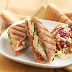 Mediterranean Chicken Panini Another time, use the subtly seasoned Dried Tomato-Pepper Spread to spiff up a cold turkey sandwich. Healthy Sandwich Recipes, Panini Recipes, Healthy Sandwiches, Turkey Sandwiches, Wrap Sandwiches, Diabetic Recipes, Lunch Recipes, Cooking Recipes, Panini Sandwiches