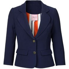Ollie blazer ($210) ❤ liked on Polyvore featuring outerwear, jackets, blazers, blazer jacket, blue blazer, blue jackets and blue blazer jacket