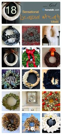 DIY:: 18  Sensational Seasonal Wreath Ideas ! (Each with separate tutorials)