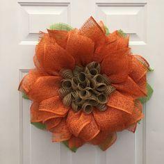 Orange Sunflower Wreath, Sunflower Burlap Wreath, Fall Sunflower Wreath, Burlap…