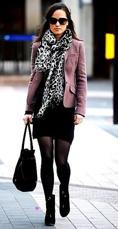 sunnies / black and white cheetah print scarf / purple blazer / black pencil skirt / black tights / black booties / black bag